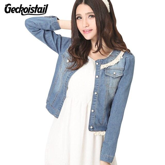 Geckoistail Nuovo Giacca di Jeans Del Merletto Jeans Cappotto Donna O-Collo  Slim Mezza Manica 1fd4965d1ea