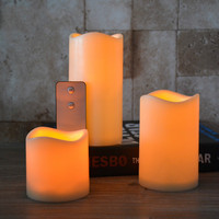 LED electronic flameless Wave shape candle lights 2 keys remote control large DIA simulation candle lamp party wedding birthday