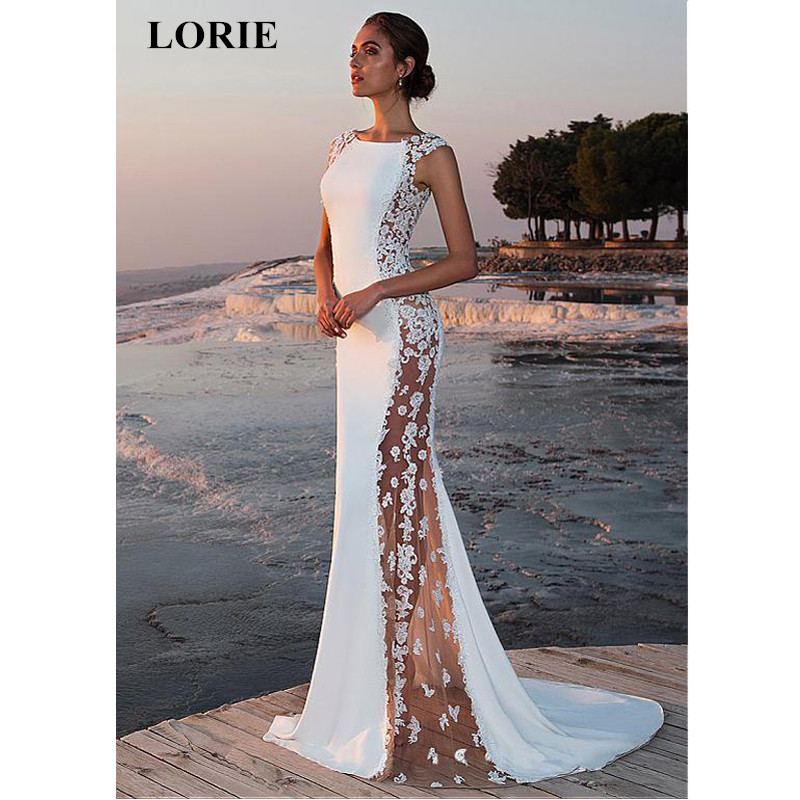LORIE Wedding Dress 2019 Fabulous Stretch Chiffon Bateau Neckline See through Mermaid Wedding Dress With Beaded Lace Appliques