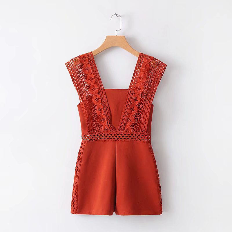 2018 Summer Fashion Women Jumpsuits Lace Trim Hollow Out Chiffon Playsuits Black White Orange