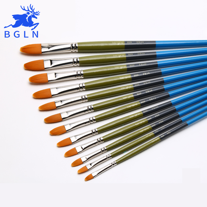 Bgln Nylon Hair Round Watercolor Paint Brush Wooden Handle