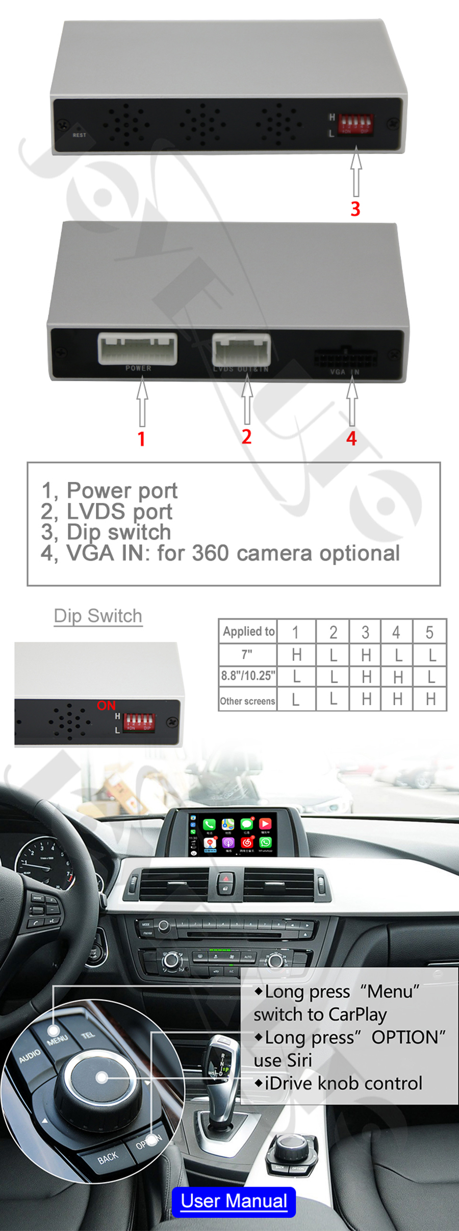 Aftermarket Full Apple Carplay Screen X1 F48 NBT 2013-2017 MY Android Auto  Solution Retrofit Reversing Camera