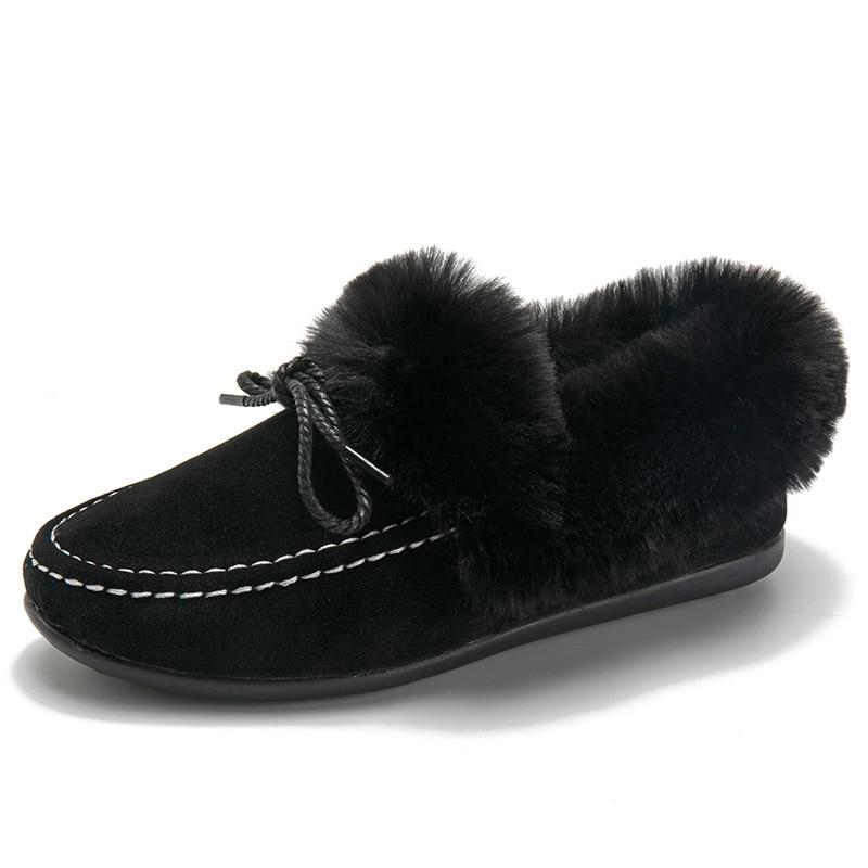 Conduite Lady Sur Dames Pour Plats Noir gris Slip Zapatos Mujer Fourrées Talon D'hiver Mocassins Bout Décontracté Hiver chocolat Femme Femmes Chaussures Rond De U6Hqq