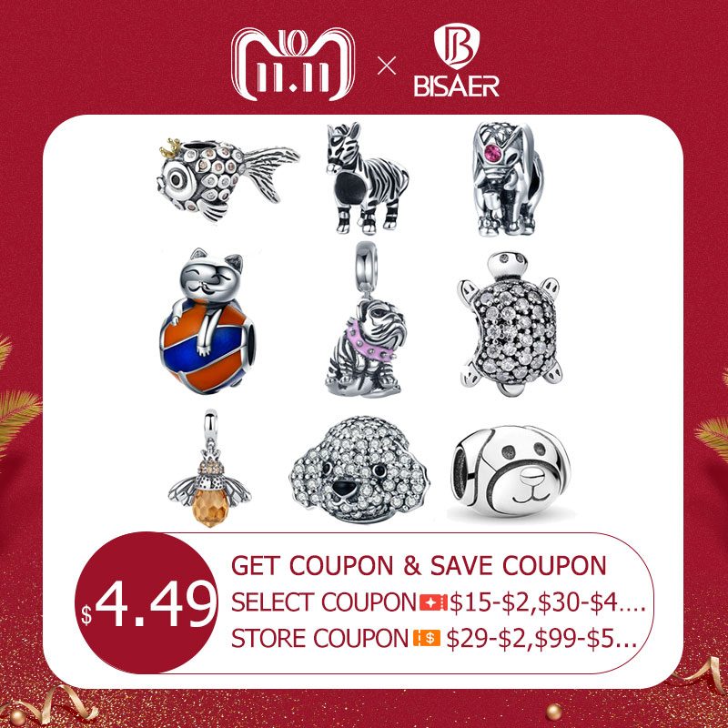 925 Sterling Silver Cat Bulldog Turtle Elephant Animal Bee Tortoise Charms Beads Fit Charms Bracelet DIY Beads Jewelry Making 925 sterling silver sea turtle charm beads fit bracelets original animal turtle clear cz bead diy jewelry pas147