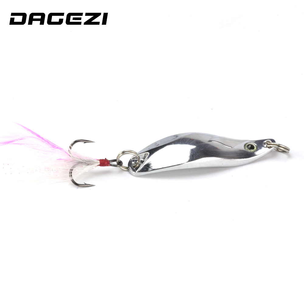DAGEZI geometry Metal Sequins Fishing Lure Spoon Lure with Feather Noise Paillette Hard Baits Treble Hook Pesca Fishing Tackle купить
