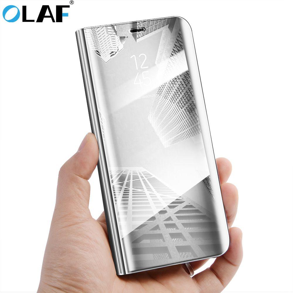 L'OLAF Smart Flip Cas Fenêtre Miroir Clear View Pour Samsung Galaxy A8 A7 A5 2018 C8 J7 Nxt Note 8 S8 S7 Bord Stand Téléphone Cas Cove