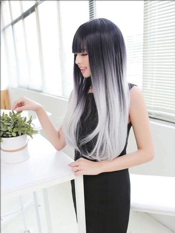 Full heat resistant synthetic black to grey ombre wig long natural full heat resistant synthetic black to grey ombre wig long natural straight girls gray hairstyles hair wigs with bangs for women on aliexpress alibaba solutioingenieria Gallery