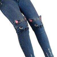 Baby Girls Jeans Cute 3D Cartoon Pattern Kids Jeans Spring Autumn Lovely Cat High Quality Children