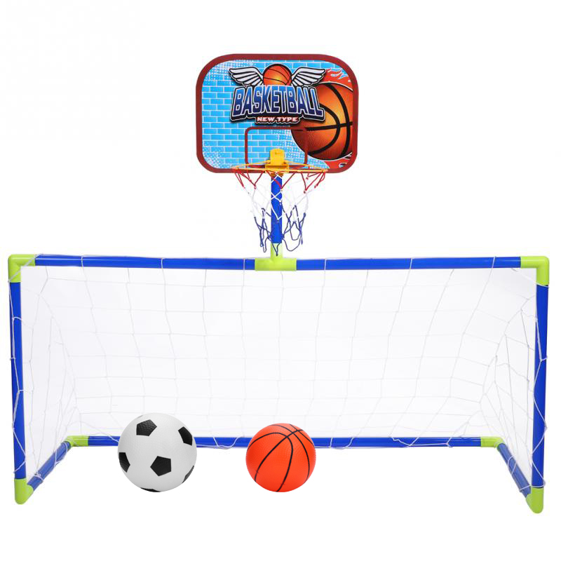 Children Hanging Basketball Stand Indoor 2 in 1 Mini Basketball Hoop Soccer Goal Net Backboard Football Guard Frame Set Kid Game(China)