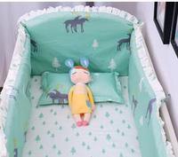Promotion! 6pcs elk Kids bedding sets baby crib bedclothes baby bedding baby crib sheets (4bumpers+sheet+pillow cover)