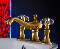 Luxury bathroom basin gold faucet 8 inch,Brass with Diamond / crystal tap Dual Handle Undermount hot and cold Golden tap