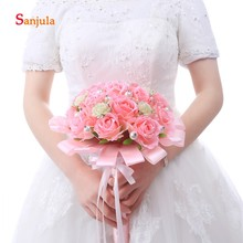 Artifical Pink Rose Flowers Wedding Bouquet 2019 Newly Wedding Accessories Pearls Bridal Hand Flower ramos de flores novia WB04
