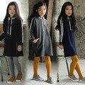 2017 новых детских длинными рукавами платье все матч весной и осенью Корейские девушки одежда платье девушка полосатые платья 10 возраст