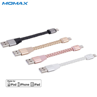 MOMAX New MFI Lightning Data Cable 11cm Connector Genuine Leather Fast USB Charger Cable For Apple