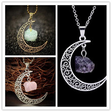Vintage Moon Necklace Irregular Natural Stone Pendant Necklaces Multicolor Crystals Antique Bronze Chains Jewelry