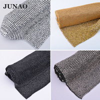 JUNAO 45*120 Crystal Mesh Fabric Rhinestones Sewing Aluminum Metal Trim Resin Non Hot Fix Stones Strass Sheet For Crafts Clothes