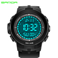2016 New SANDA Brand Men LED Digital Military Watch, Dive Swim Sports Watches Fashion Waterproof Outdoor Dress Wristwatches