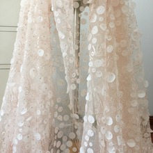 1 Yard Exquisite 3D Laser Cut Sequin Blossom Lace Fabric in Off White Tulle, Flower Bridal Farbic Prom Dress