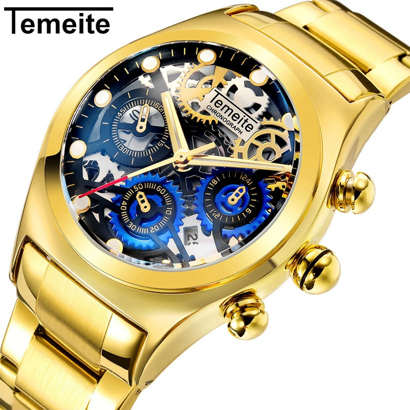 Temeite New Luxury Men Watch Fashion Sport Men's Watches Stainless Steel Quartz Gold Watch Men Clock Date Reloj Hombre 2018