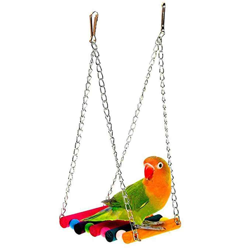 LanLan 8Pcs/Set Parrot Bite Toy Frosted Springboard Swing Ring Bell String Cage For Parakeet Cockatiel Chew Fun toys Pet Bird Toy
