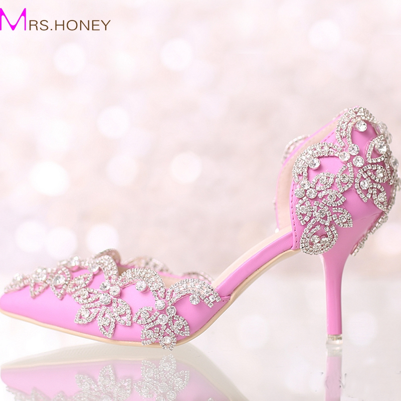 Summer New Designer Pink Pointed Toe Wedding Shoes Middle Heel Bridal Shoes Rhinestone Wedding Party Pumps Prom Event Shoes цены онлайн