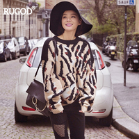 RUGOD Women Sweater 2017 Autumn Winter New Arrival O Neck Fashion Full Sleeve Pullovers Leopard Printed