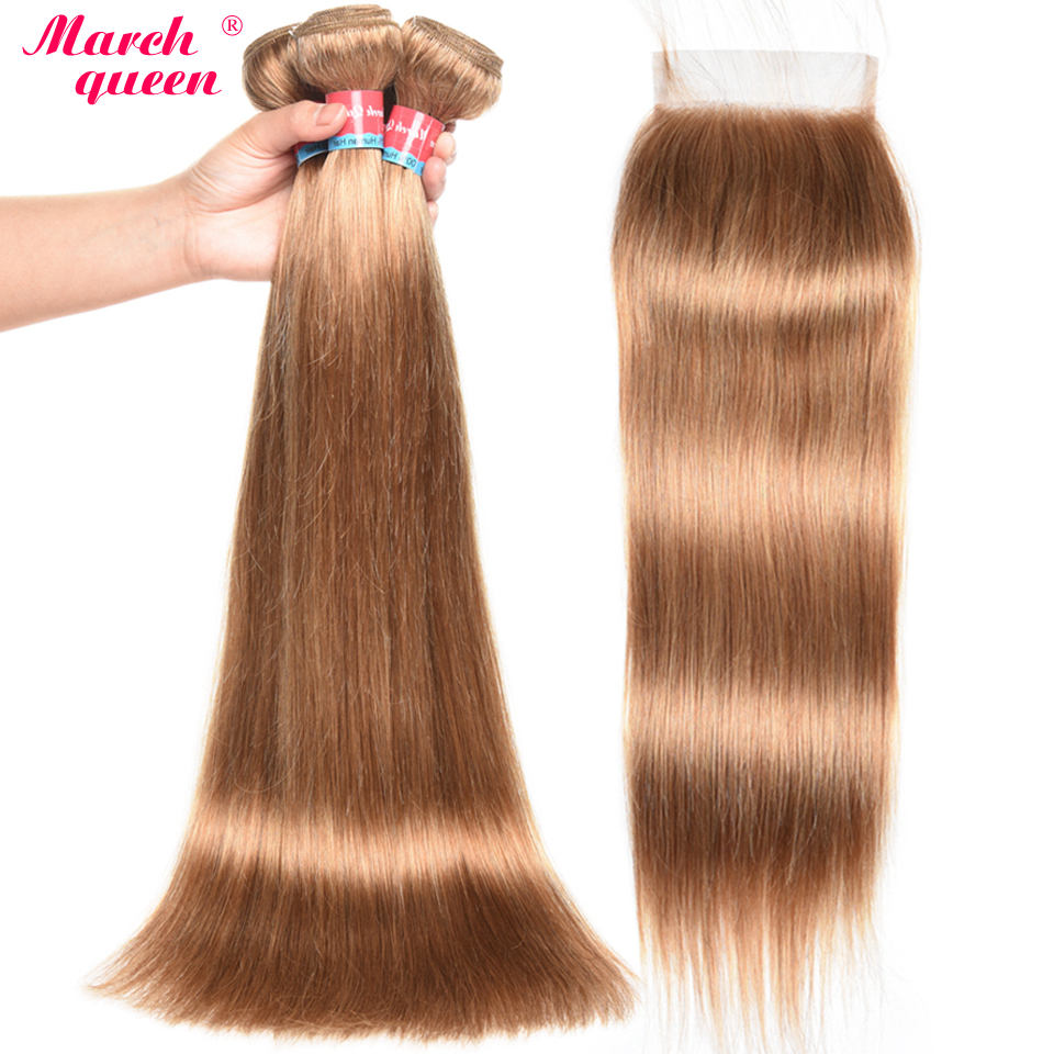 March Queen 27 Peruvian Straight Hair With Closure Honey Blonde Color Human Hair Weave 3 Bundles