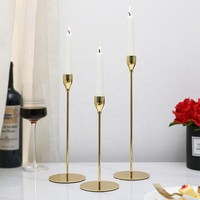 Set of 3 Gold Metal Candle Holder Stand for Home Decor
