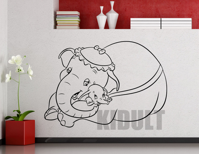 Cartoon wall decals from dumbo elephant cartoon animals for Cartoon wall mural