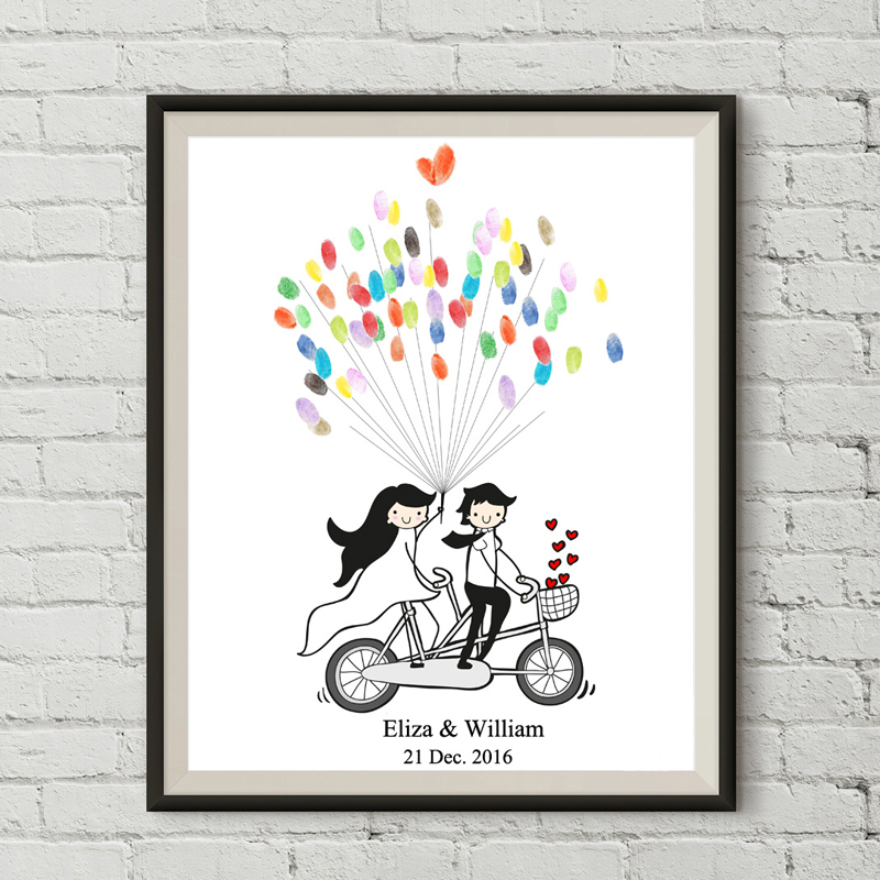 personality diy custom bicycle lovers no frame canvas fingerprint signature wedding guestbook bedroom decoration sweet souvenirs