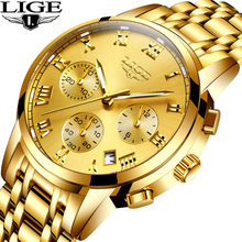Relogio Masculino LIGE hommes montres affaires de luxe Top marque pleine or montre hommes sport étanche nuit lumière Quartz montre + boîte