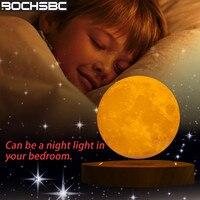 BOCHSBC Магнитная 3D Луна левитирующая Настольная лампа для спальни гостиная столовая деревянная база настольная лампа Современная художествс