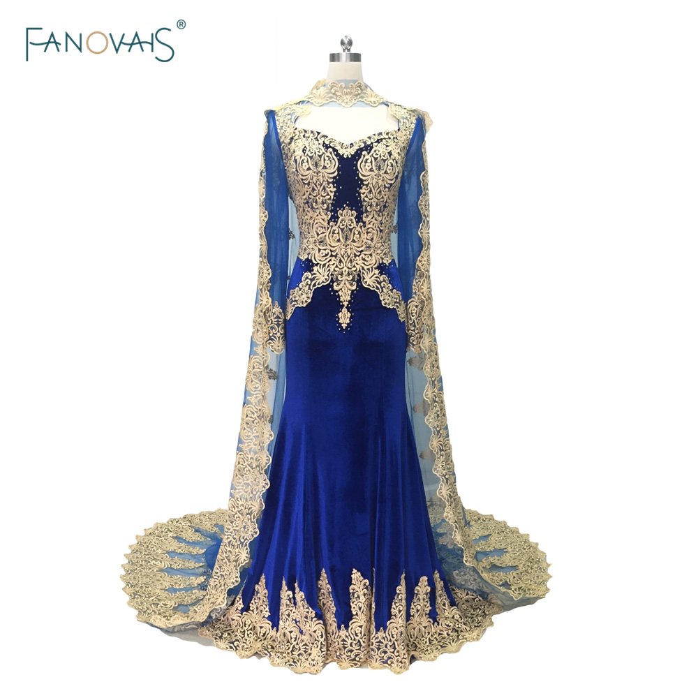 2018 royal blue mermaid evening dresses long sleeves with cape dubai muslim lace prom dress