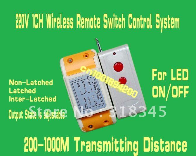 RF wireless remote control switch system1Receiver /switch &1Transmitter/remote control 220V10A1CH output way adjustable200-1000MRF wireless remote control switch system1Receiver /switch &1Transmitter/remote control 220V10A1CH output way adjustable200-1000M