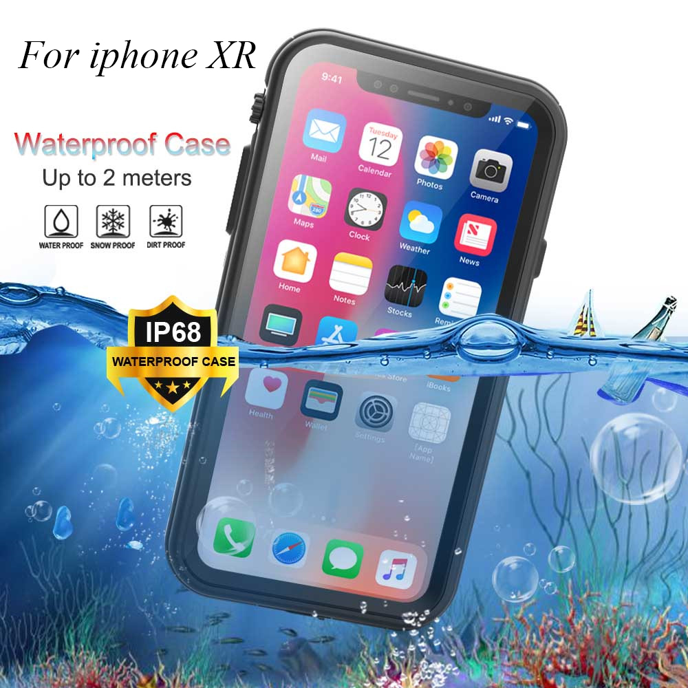 For iphone XR IP68 Waterproof Case for 360 Full Cover Protection Shockproof Kickstand