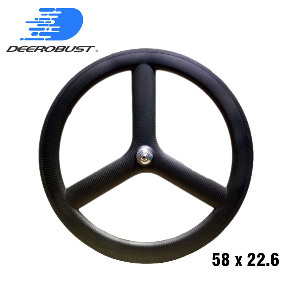 carbon tri spoke wheel front wheel 56mm depth for road//track bike 700C 5 spoke