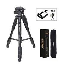 Triple Udhëtimi Profesional Alumini Portable Zomei Q111 me çanta Aksesorë Kamerash Qëndroni për Digital me Kreu Pan për Dslr
