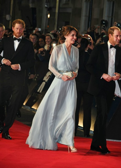 Kate Middleton Elegant Chiffon Celebrity Dresses Sexy V-Neck Long Sleeve  Beading Sashes Evening Dress 408844f38f44
