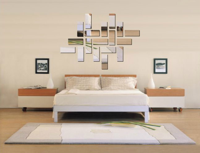 Rectangle mirror crystal three dimensional wall stickers square mirror tv decoration