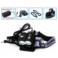Hot 5000LM 2x XM-L T6 U2 Cycling Front Bicycle Bike Head Lamp + Waterproof Battery Pack + Charger