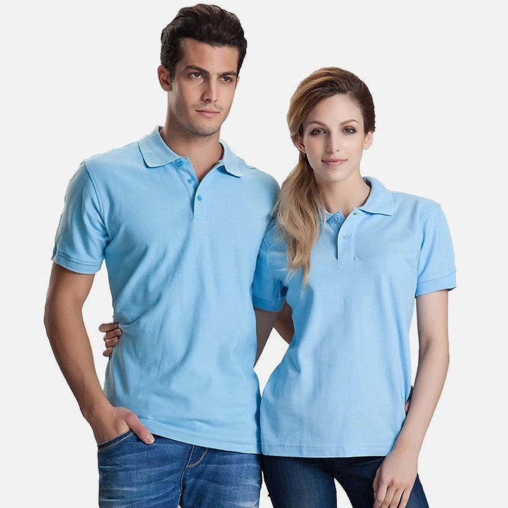 Women Men Unisex Cotton Plain Solid Black Blue Navy Red Polo Shirt
