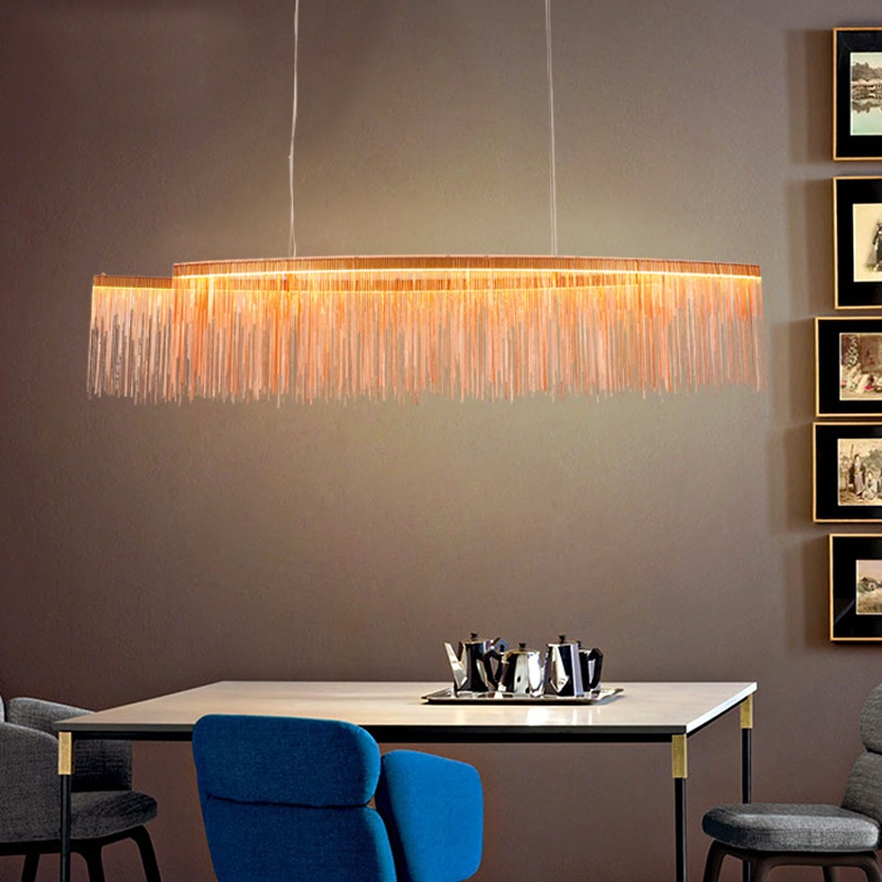 Postmodern creative chrome / rose gold waterfall LED chandeliers Residential & Commercial & Office Chandelier Fixture Lighting