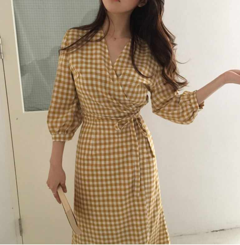 Летнее платье Для женщин из хлопка и льна из органической кожи; повседневные платья для девочек Женское платье с v-образным вырезом, черное клетчатое Платье желтого цвета женская одежда с стиле Бохо Vestido