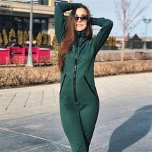 2018 Women Green Zipper Hooded Jumpsuits Solid Autumn  Slim Sexy Hoodies Casual  Pockets Long Sleeve Playsuits