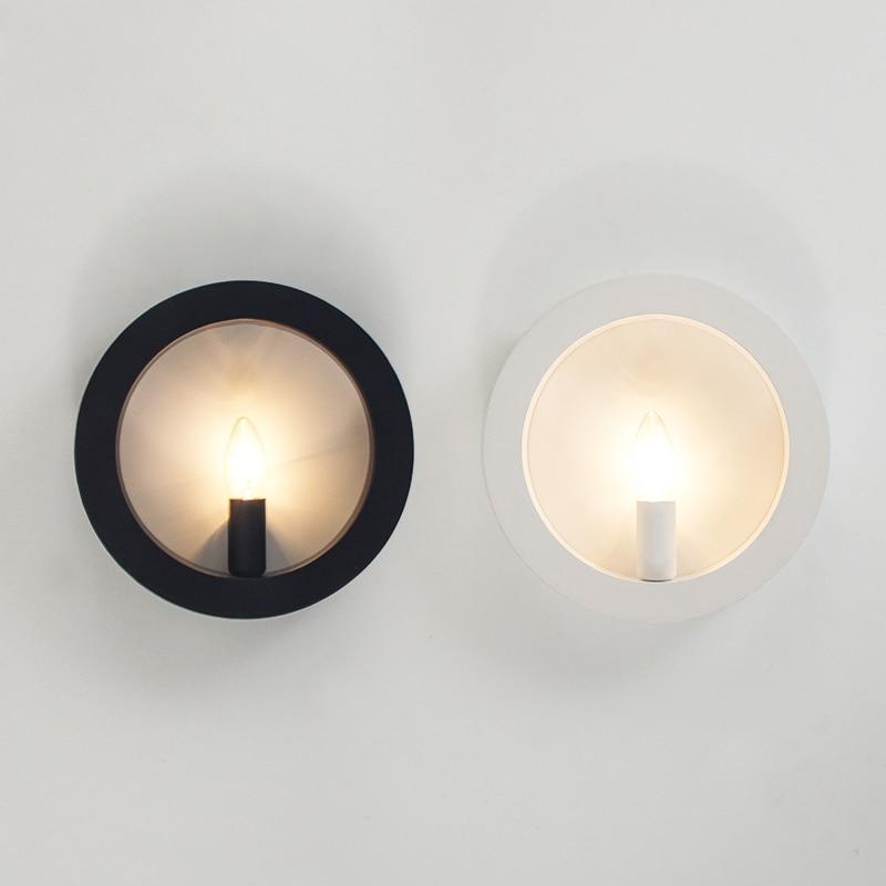 Moderne Nordique Minimaliste Noir/Blanc/Rouge Peinture Rond/Carré Cire Bougie Fer Chandelier Mur Lampe pour Chambre salon