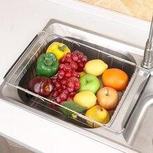 Escurridor de verduras de acero inoxidable, ajustable, para fregadero, soporte de almacenamiento de frutas, organizador para el hogar, cesto funcional de cocina de secado