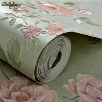 beibehang 3D Relief Aurion Wallpapers American Countryside Pastoral Flowers AB Plain with Nonwovens Wallpaper papel de parede
