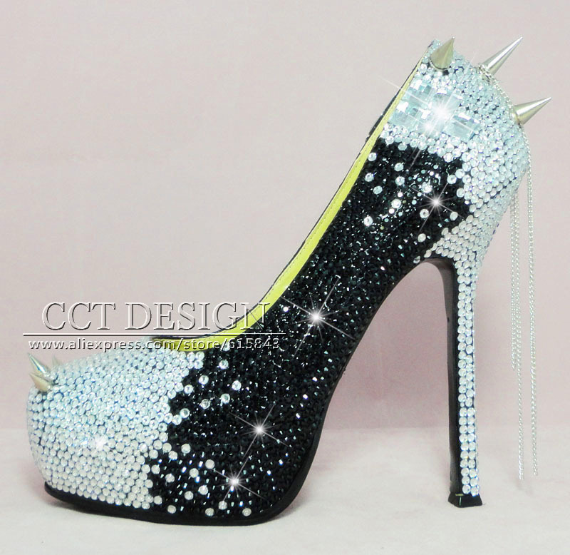 Women Silver Black Rhinestone High Heels With Spikes Sexy Women Pumps With Spikes Rivets Crystal Evening Shoes With Spikes 2015 sexy women black rhinestone rivet high heels wedding party prom shoes with silver spikes rivet pumps free shipping