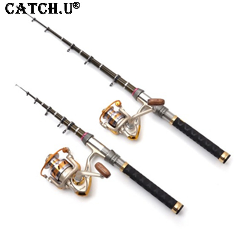 Carbon Saltwater Telescopic Spinning Fishing Rod and 11+1BB Metal Spool Spinning Fishing Reel Rod Set 2015 free shipping 3 6m combo carbon fishing rod sections carp telescopic fishing rod spinning reel casting rod combo set