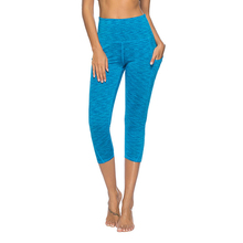 Running Fitness Yoga Pants Female Capri Cropped Yoga Leggings Pocket Sportswear High Waist Gym Workout Women Yoga Tights Trouser sunflower printed cropped running tights